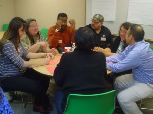 Community Conversation attendees brainstorm projects to support diversity.